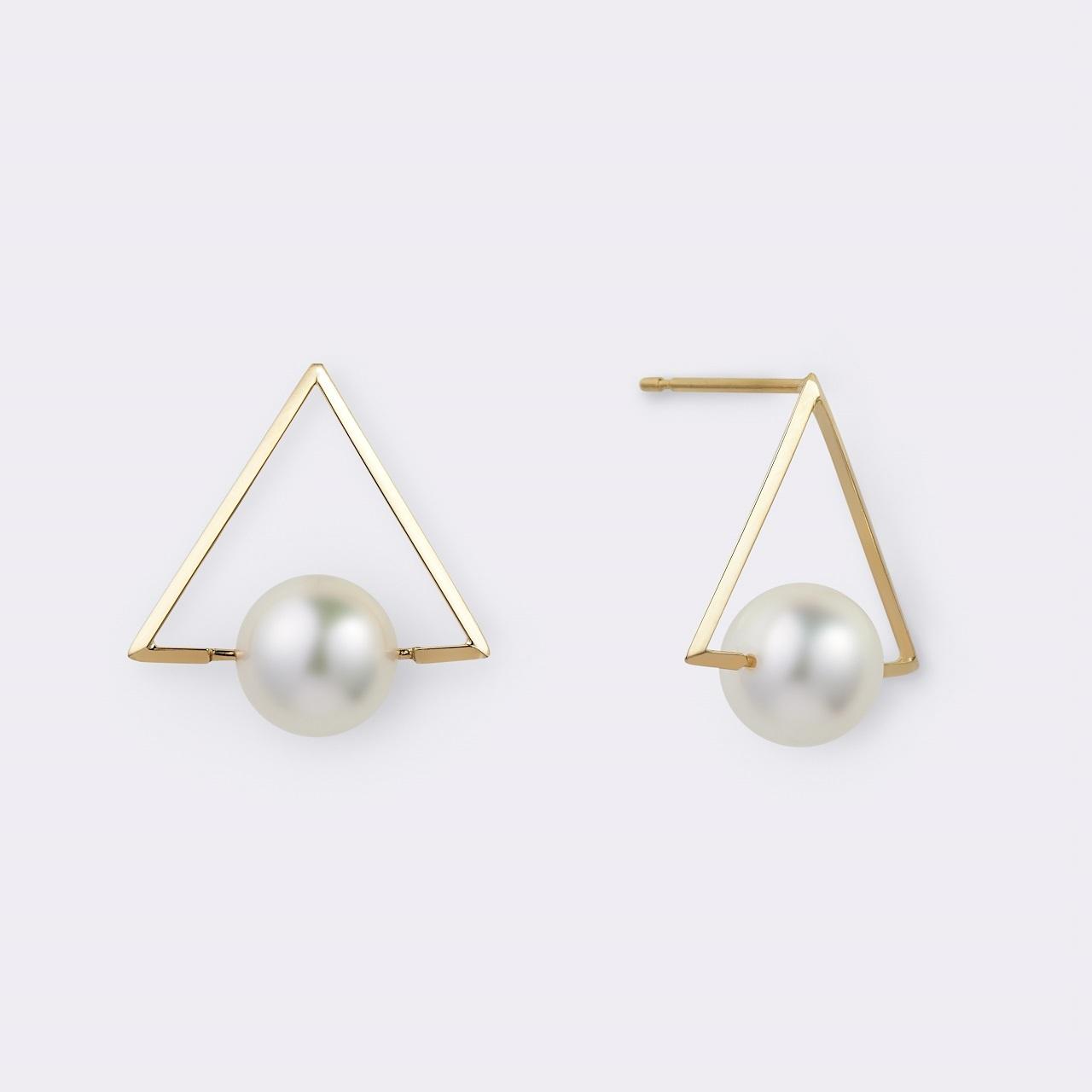 Akoya Pearl Triangle pierce K18YG(アコヤパールトライアングルピアス K18イエローゴールド)