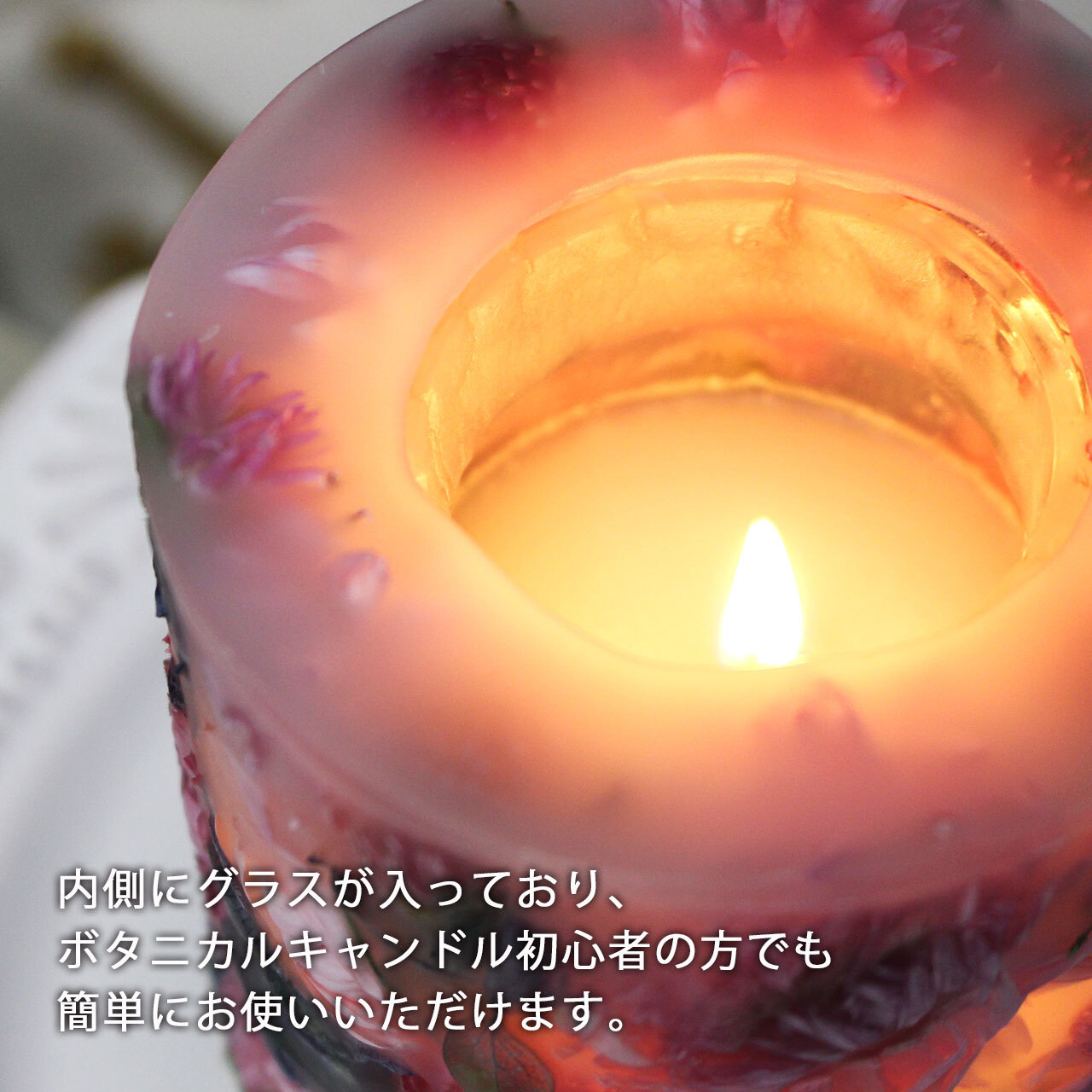 透明ラッピング&紙袋付き☆ボタニカルキャンドルギフト パンジー