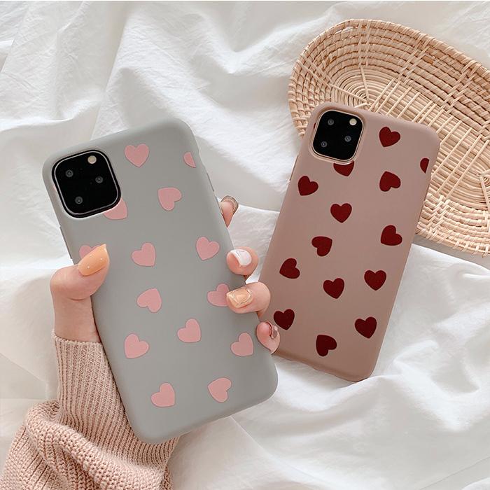【お取り寄せ商品、送料無料】2カラー かわいい ハート マット ソフト iPhoneケース iPhone11