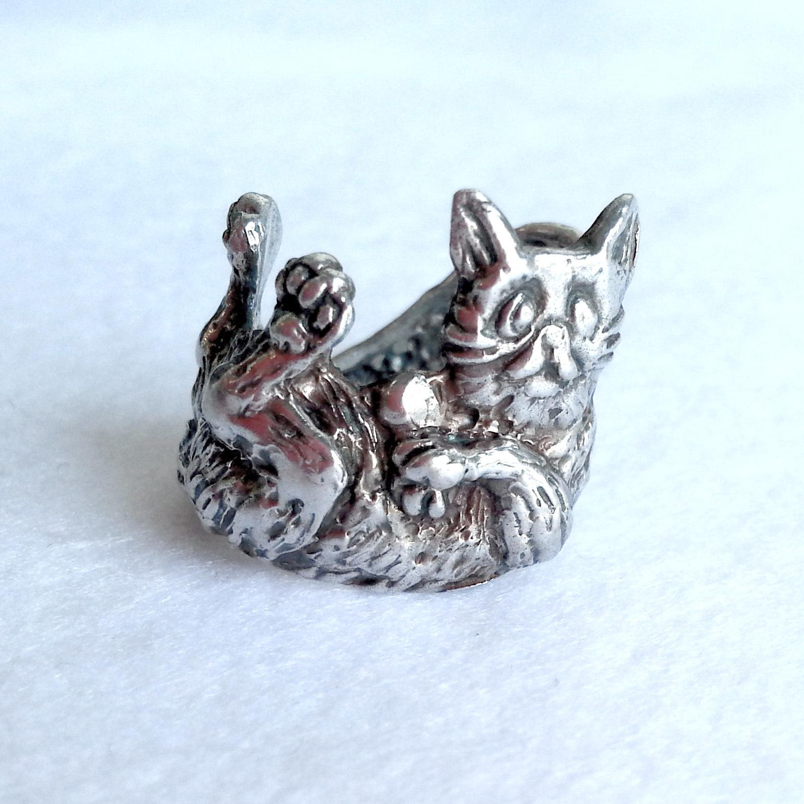ごろ寝ねこ・silver925製リング(猫・ネコ・にゃんこ・キャット・cat・指輪)