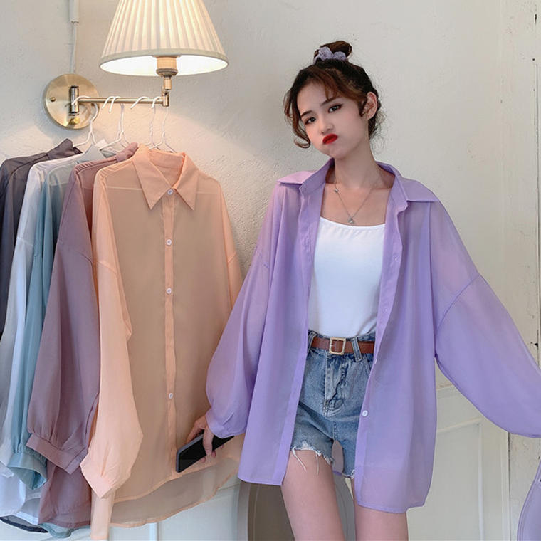 【送料無料】 6color♡ 大人可愛い カジュアル 透け感 シースルー シアー シャツ ルーズ オーバーサイズ 羽織り