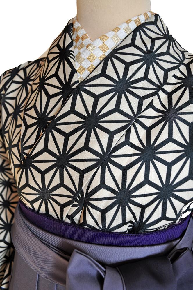 卒業式袴レンタル!紺色ぼかし袴&ベージュ地黒の麻の葉柄着物ladies'hakama3[往復送料無料] - 画像3