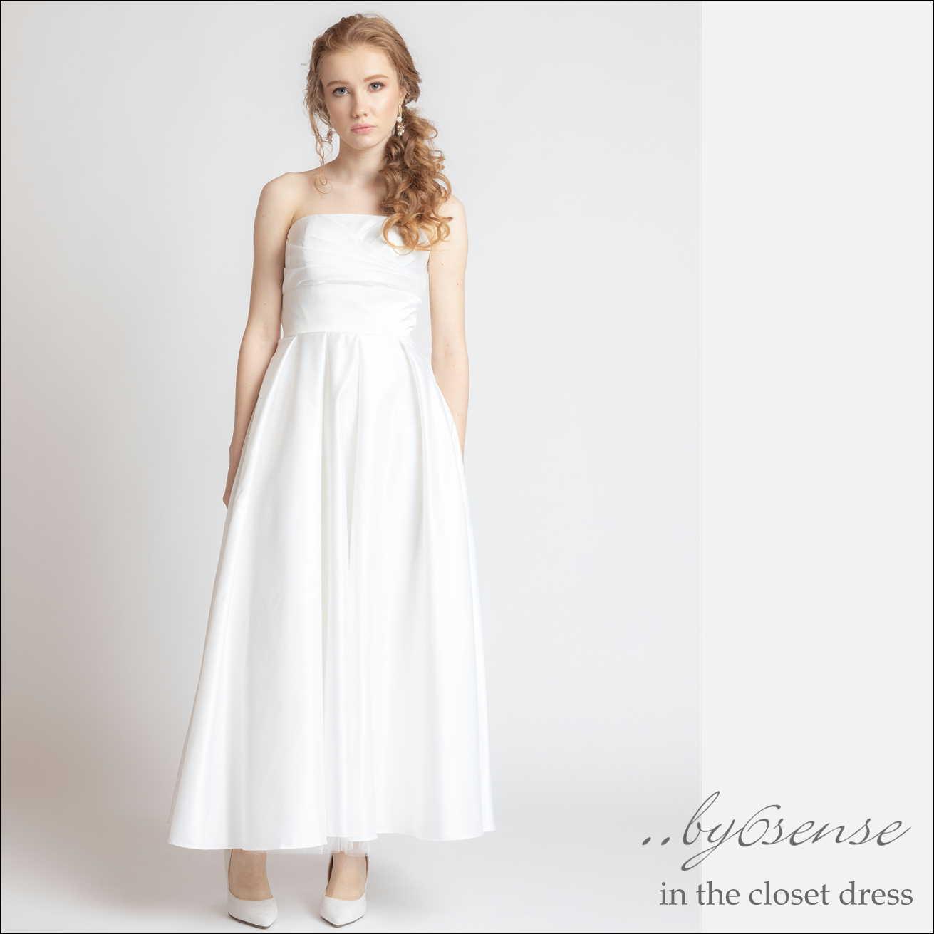 ロングサテンドレスドレス 結婚式 パーティー ロング丈 花嫁 イブニングドレス white