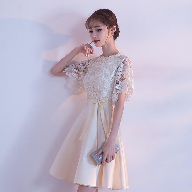 可憐♪花モチーフレース ◇ 半袖 ミディアムドレス ワンピース