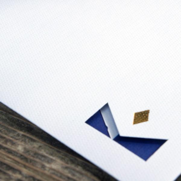 【白×ストライプ】カード付スタイリッシュ封筒 HNH01J