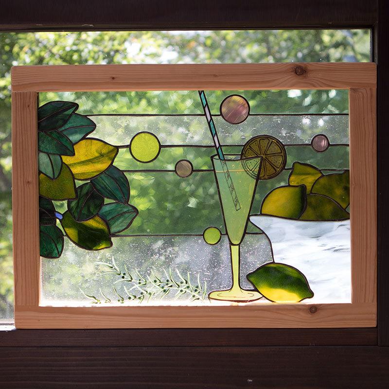 レモンスカッシュのある風景(ステングラスのアートパネル) 03050209