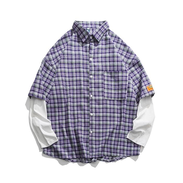 【UNISEX】アウトドア カットソー チェックシャツ