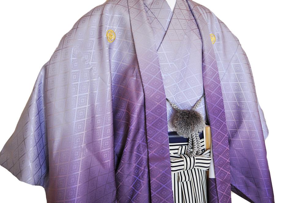 レンタル男性用pb01【紋付袴】紫ぼかし着物と黒銀ぼかし袴のフルセット[往復送料無料] - 画像3
