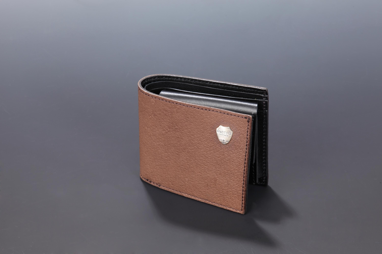 【国産イノシシ革】2つ折りウォレット(Brown)【NOTO Leather使用】