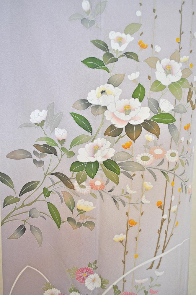 レンタル着物161「訪問着レンタル」極薄紫色地に菊と牡丹がのびやかな柄【往復送料無料】 - 画像5