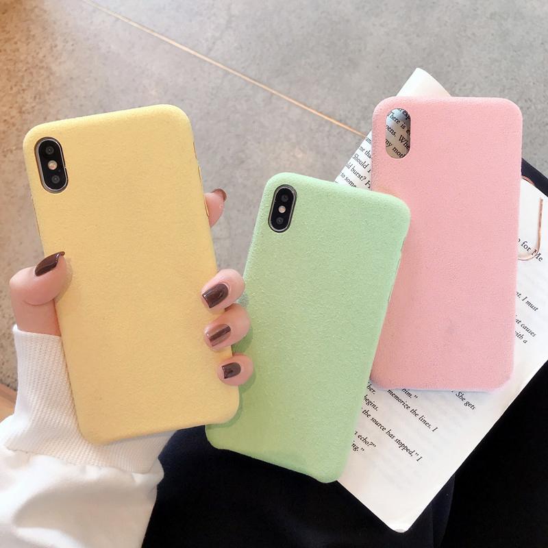 【お取り寄せ商品、送料無料】3カラー パステル スエード調 ハード iPhoneケース iPhone11