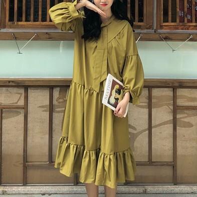 【dress】レトロ無地ゆったり合わせやすいカジュアルワンピース26902834
