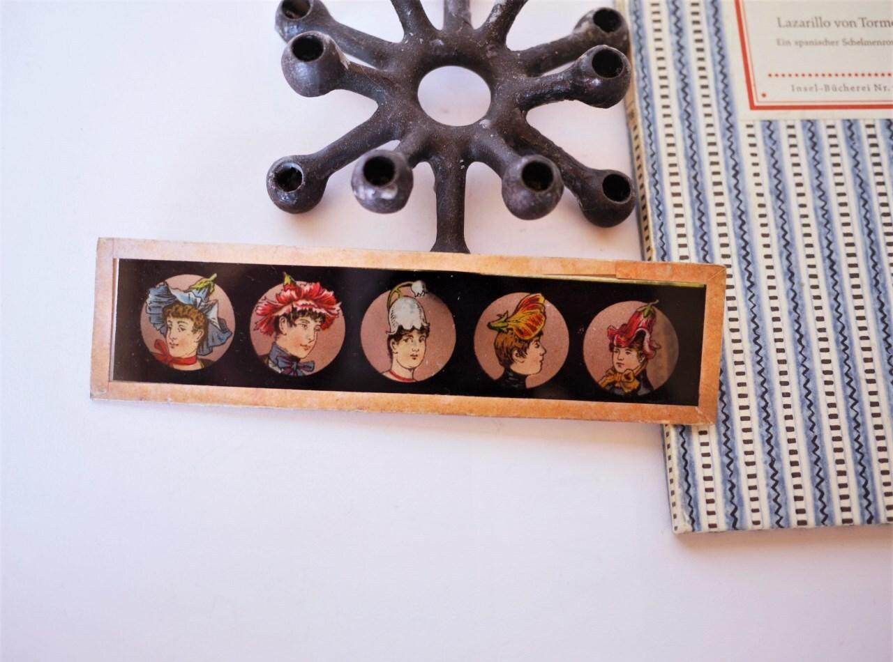 幻灯機マジックランタンのガラス絵 花帽子イケメン