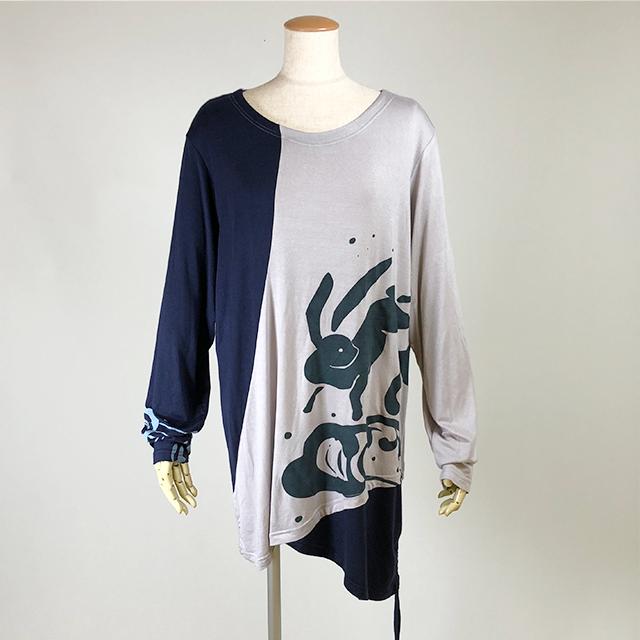 兎と波プリントロングTシャツ/GY-NV