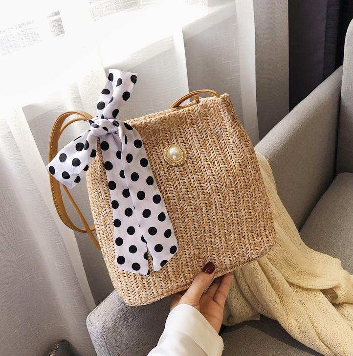 【送料無料】ドットリボンがポイント ♡ レトロ ガーリー 大人可愛い パール カゴ メッシュ ショルダー バッグ