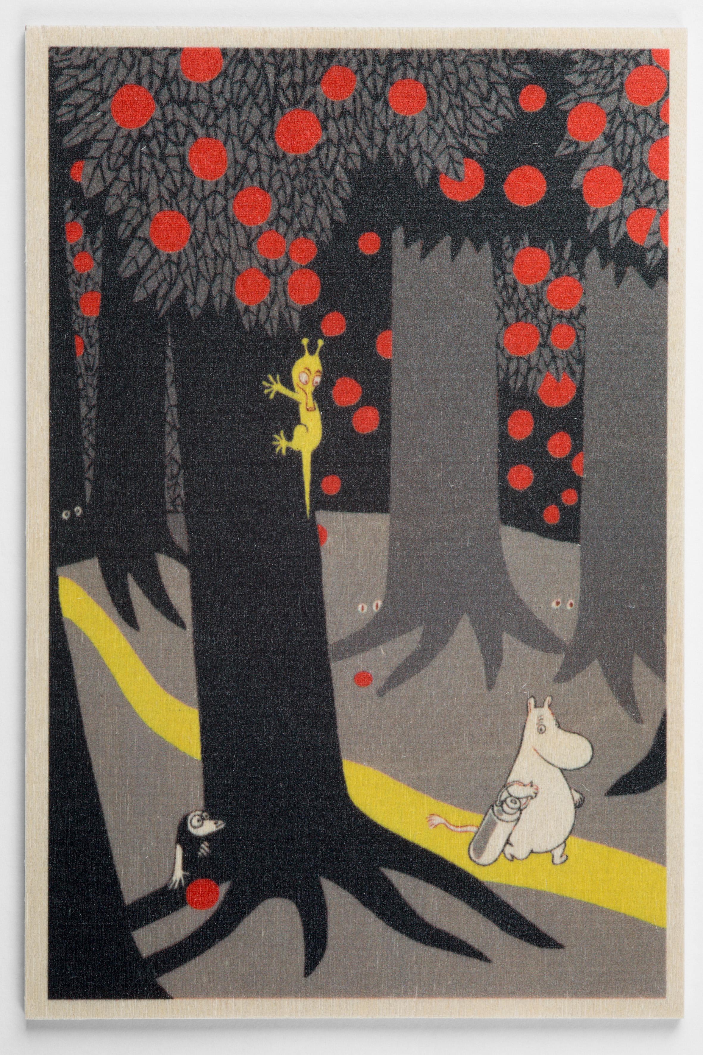 白樺ポストカード 10x15cm ムーミン 「ムーミン森の中」