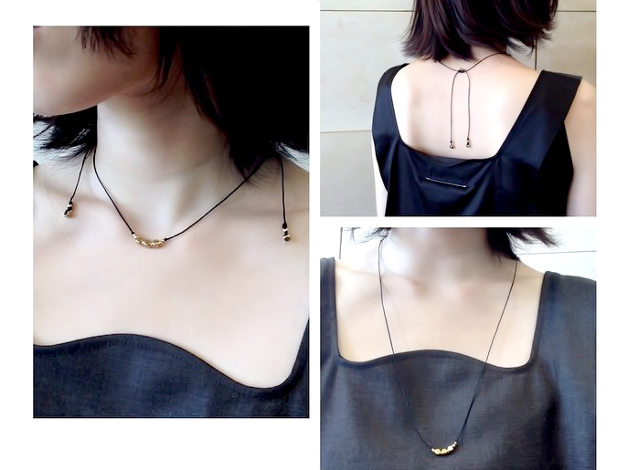 真鍮ネックレス - 2WAY Brass Beads Necklace/Black(Gold/Silver)