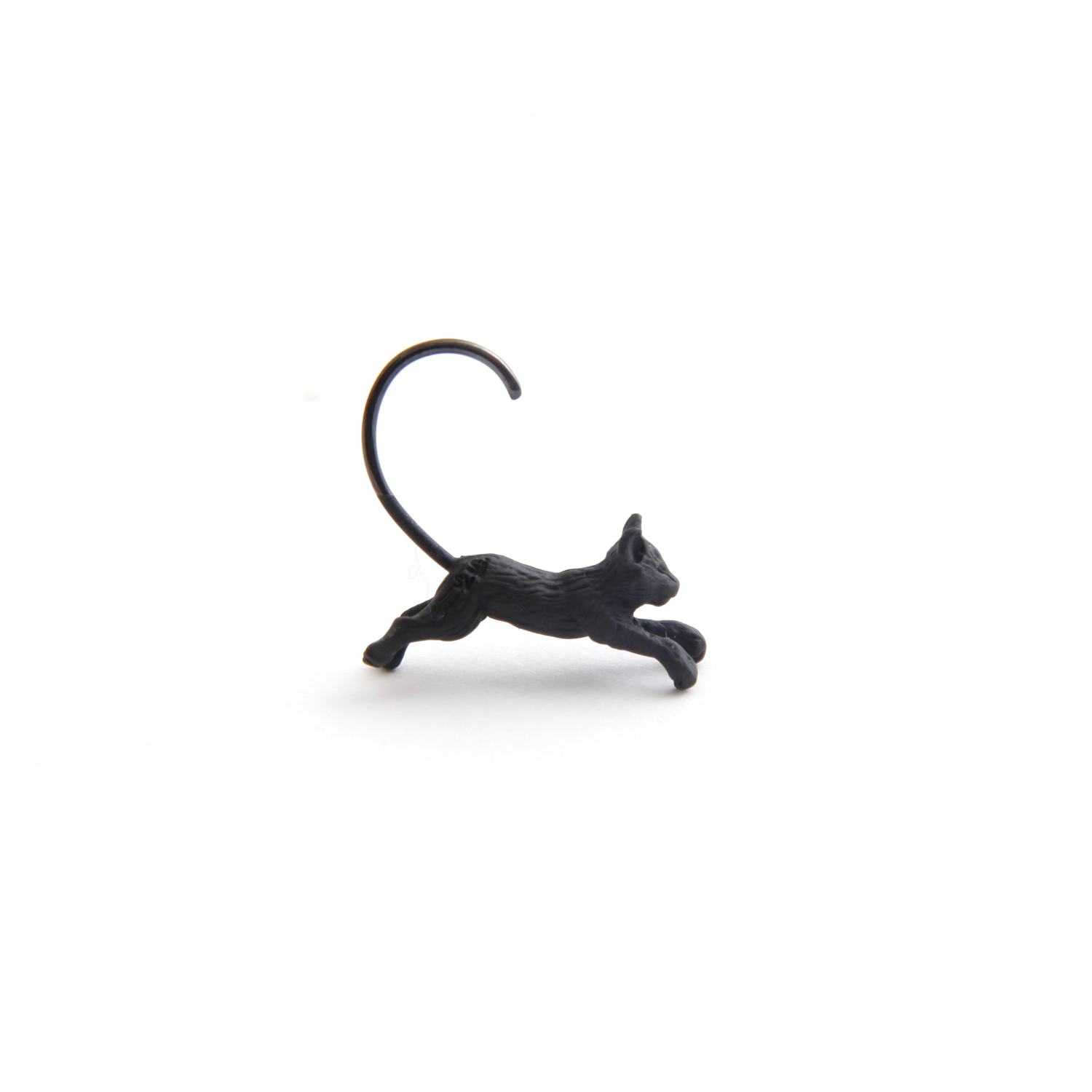 simmon/Cat Body Hook Pierce_Black(片耳)