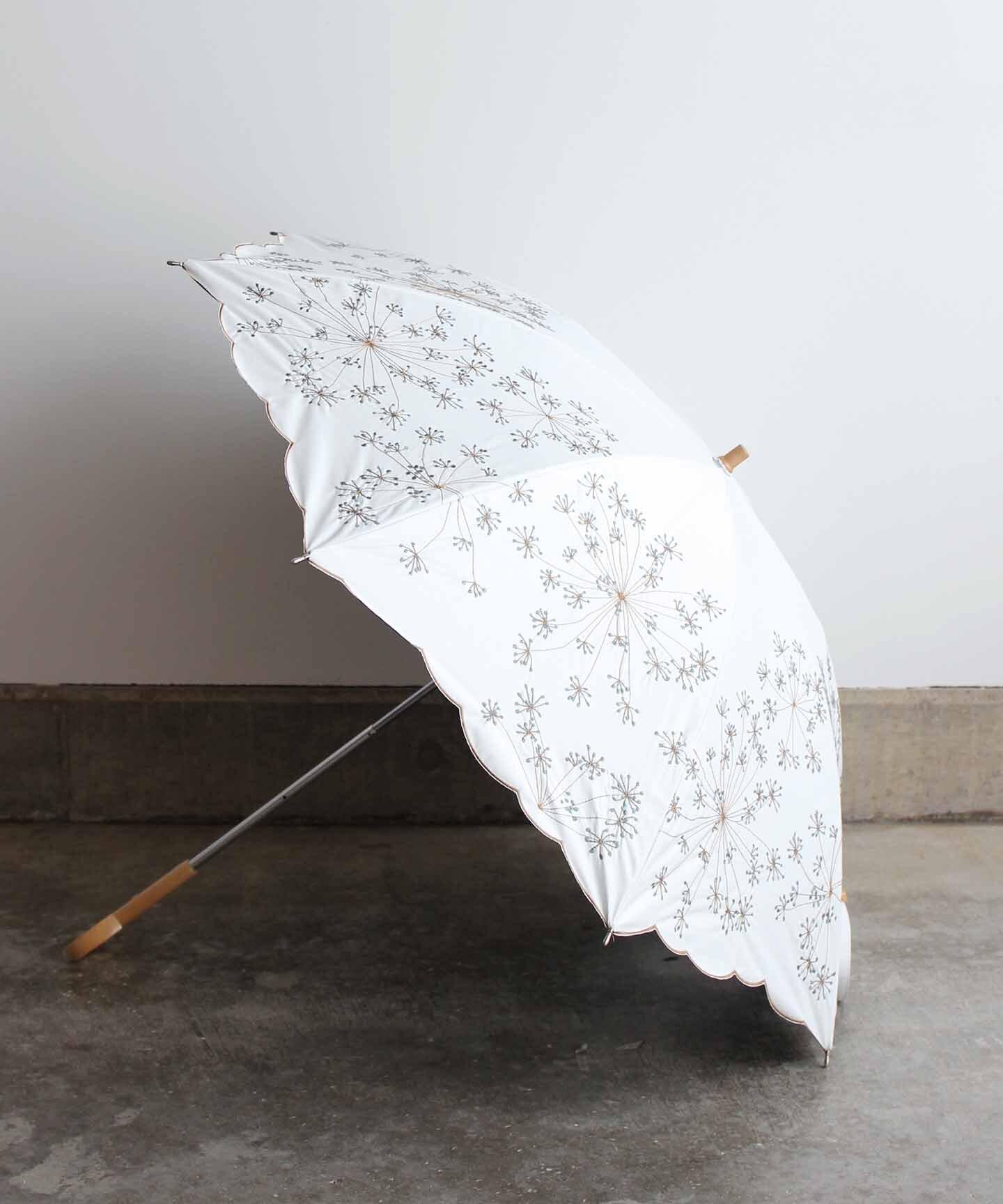 【フェンネル花刺繍】雨天兼用日傘 ホワイト