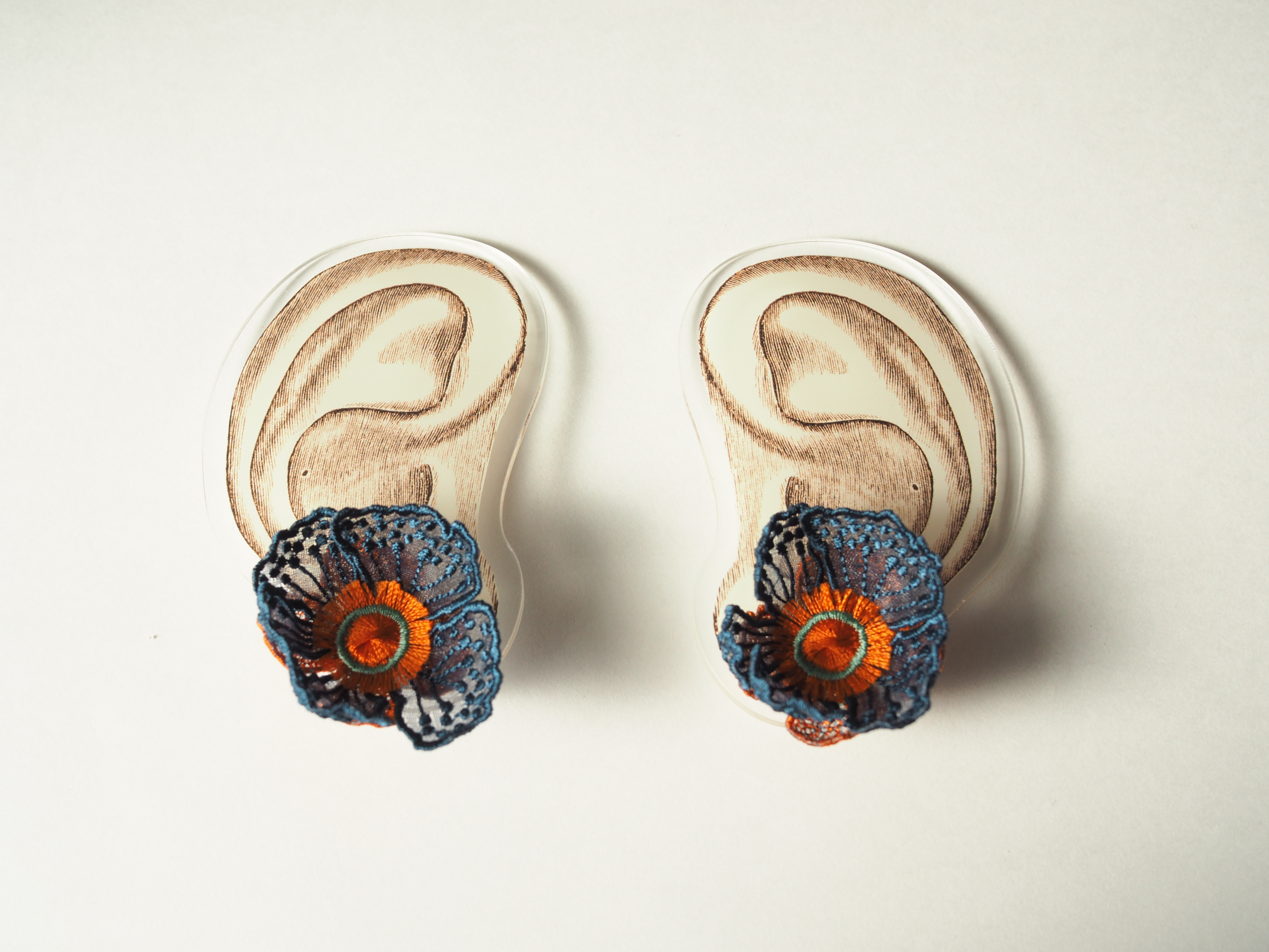 ARRO / Embroidery earing / FLOWERS AT DAWN 2 / NAVY
