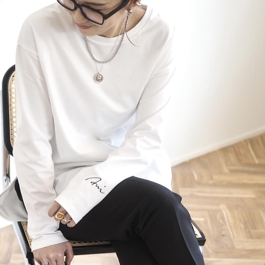 【 ANIECA 】Embroidery Long T-Shirt