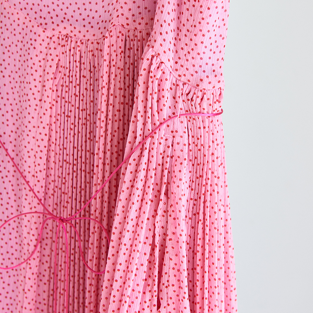 19SS Apron pleated dress〈Pink〉