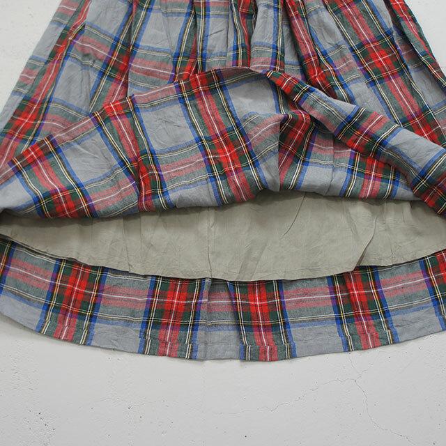 ichiAntiquites イチアンティークス LINEN TARTAN CHECK SKIRT リネンタータンチェックスカート レディース スカート ロング LINEN リネン タータンチェック ゆったり 通販 (品番500314)