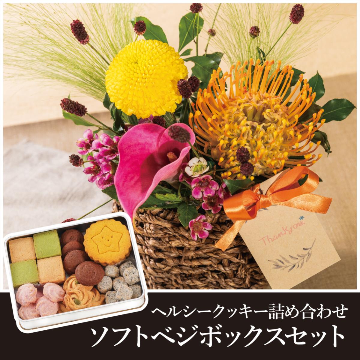 【敬老の日限定販売】生花アレンジメントpetit+ソフトベジボックス