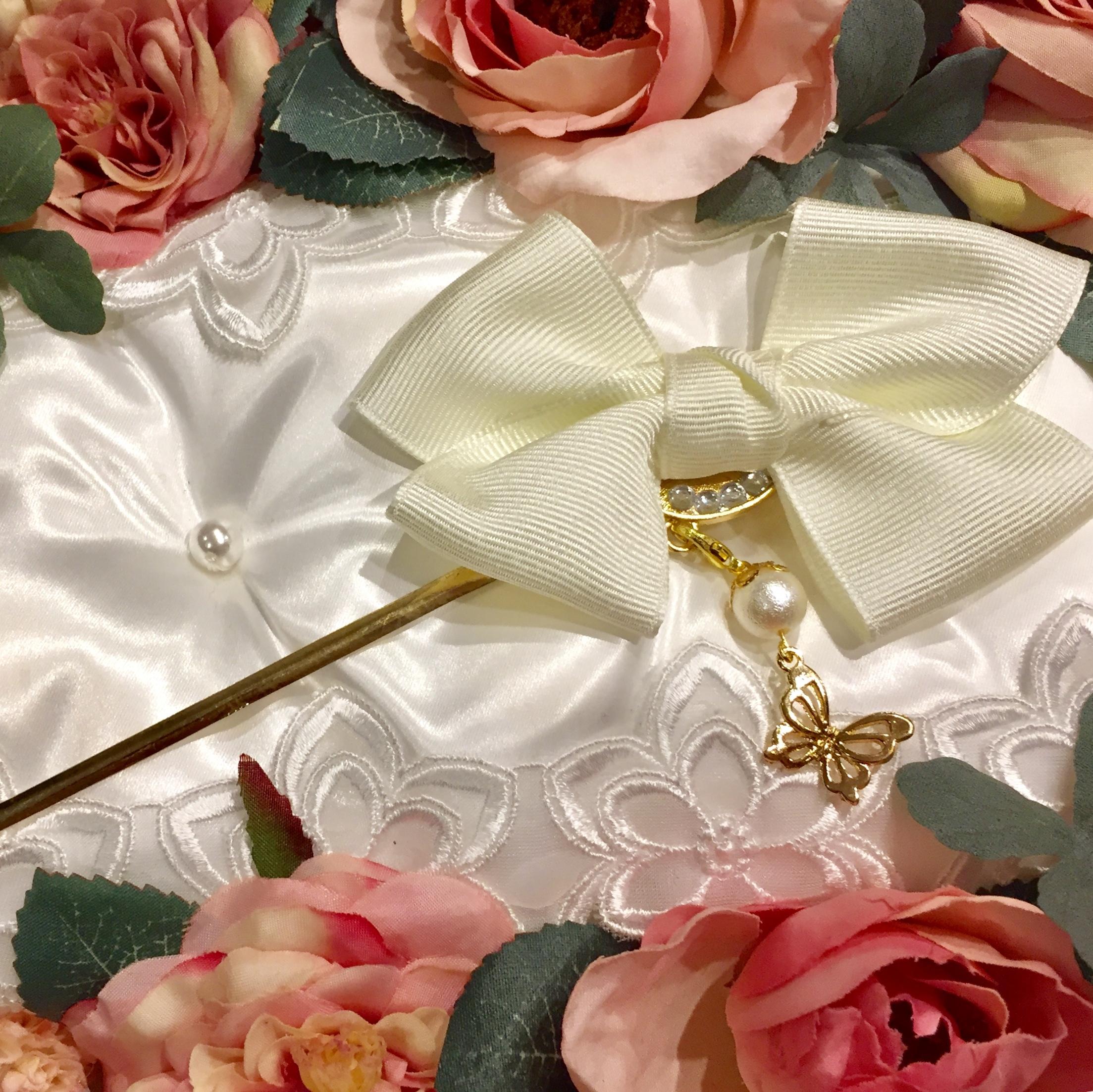 和装・洋装兼用❤️取り外せるチャームの2wayかんざし・白