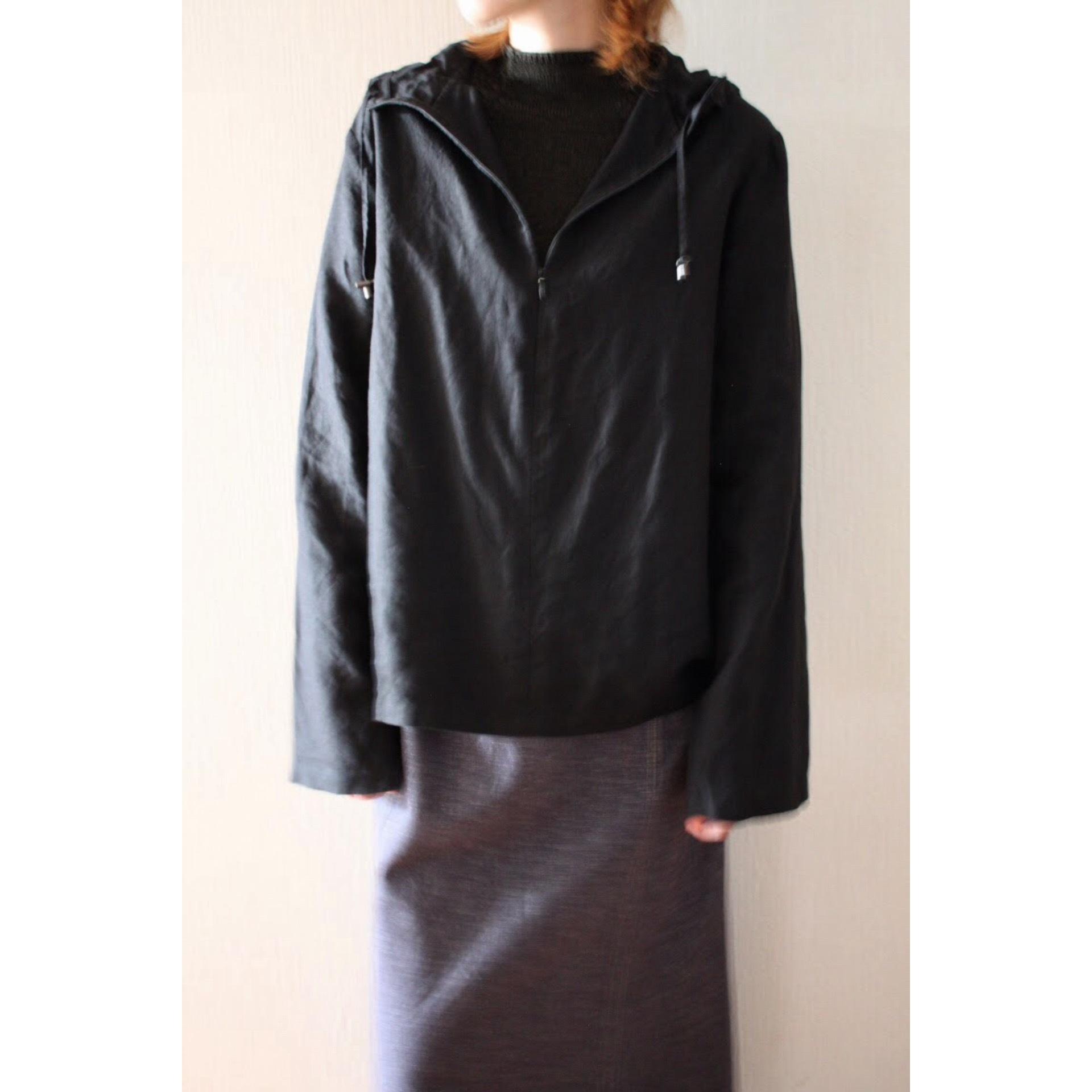 Vintage black linen hoodie