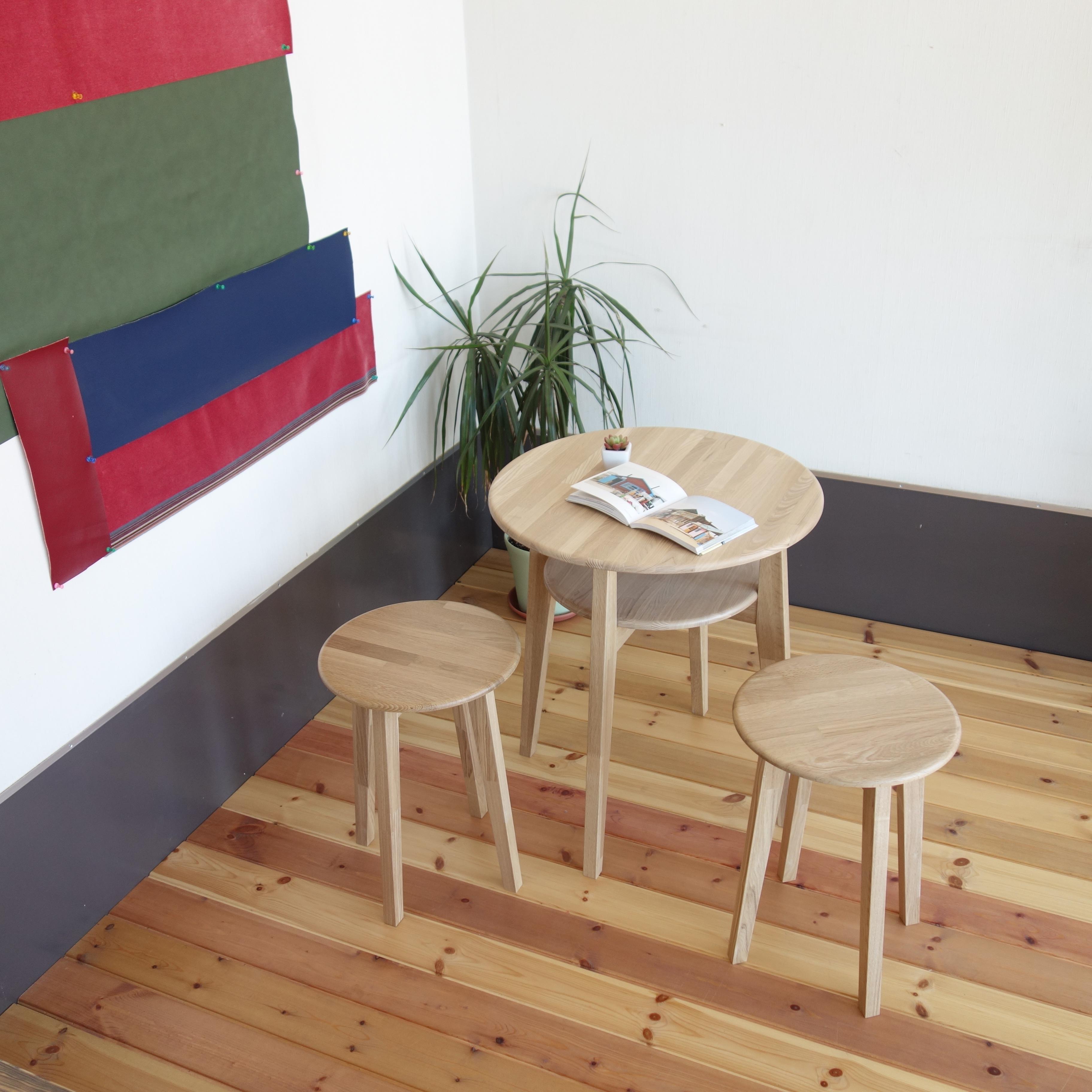 【カフェテーブル 3点セット】 テーブル×1 スツール×2 - 画像2