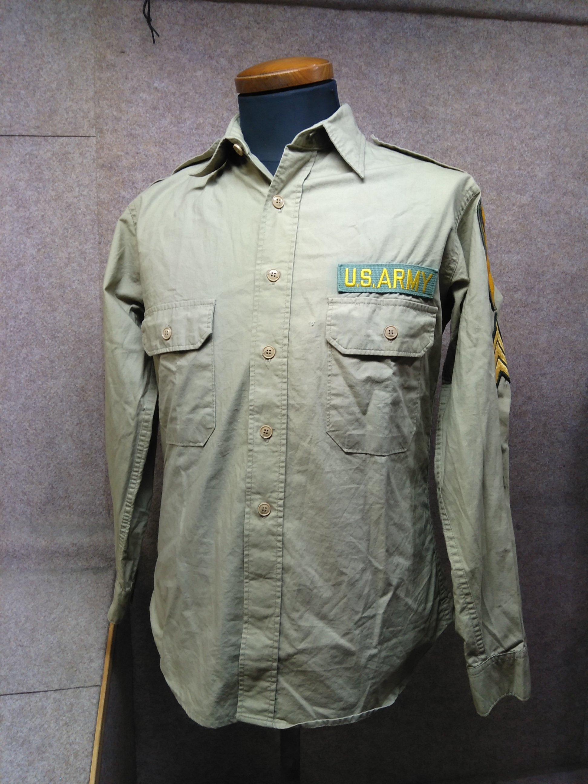 ヒューストン HOUSTON ミリタリーシャツ カーキ mh749e
