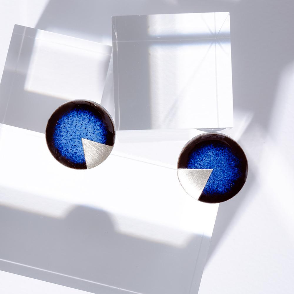藍色 丸 美濃焼 月華のイヤリング&ピアス 陶器