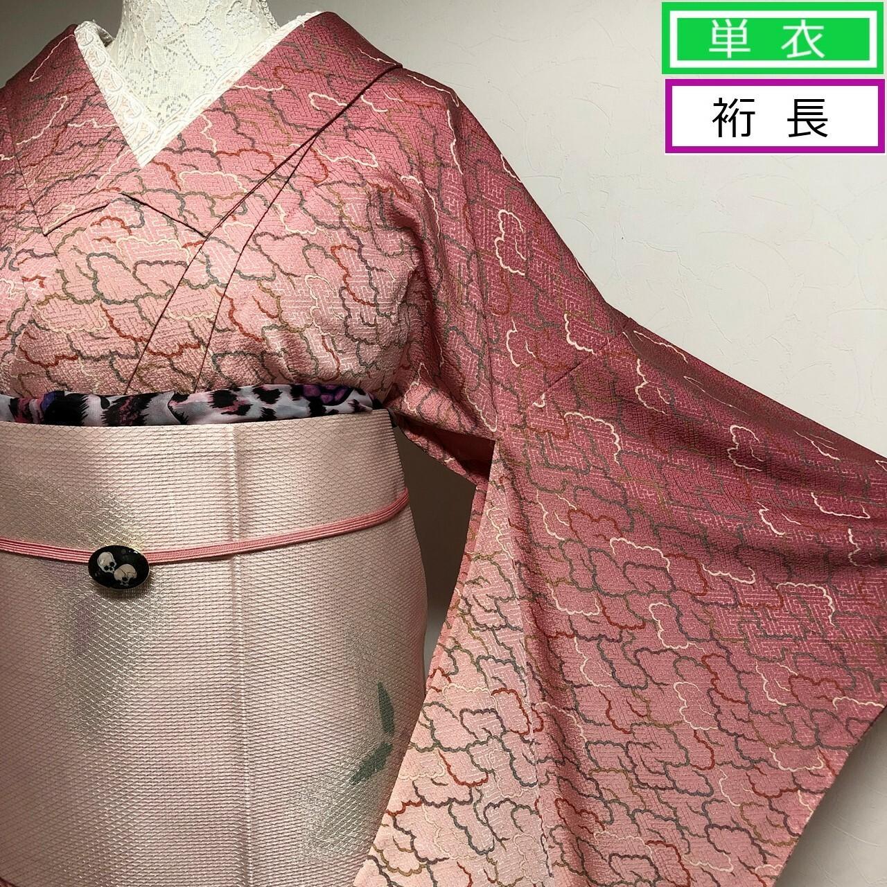 【単衣】裄長!超美品!付下げ小紋桃色グラデ染め分け 雲形文 丈164裄69