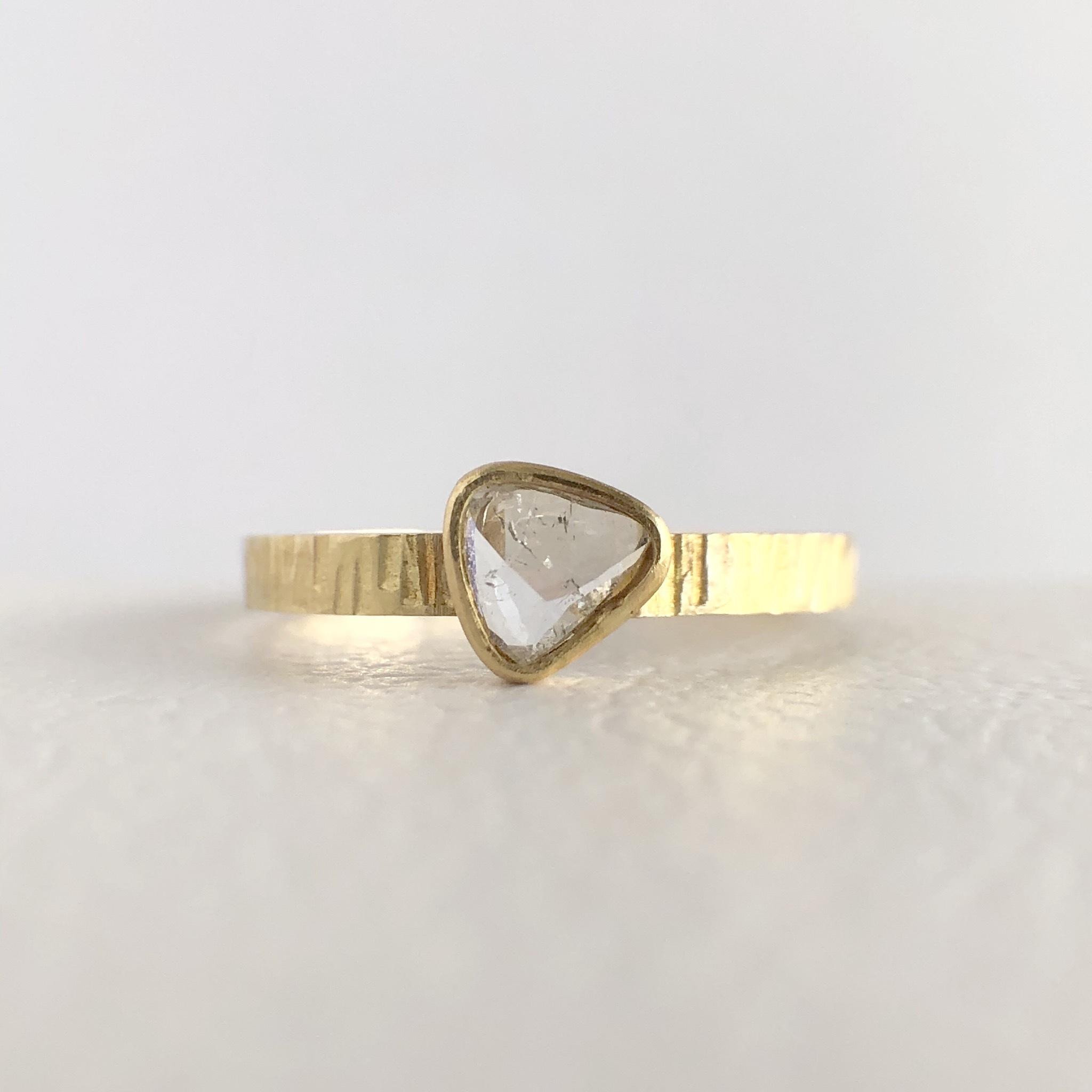ナチュラルダイヤモンドリング 0.250ct K18イエローゴールド チェカ 鑑別書付