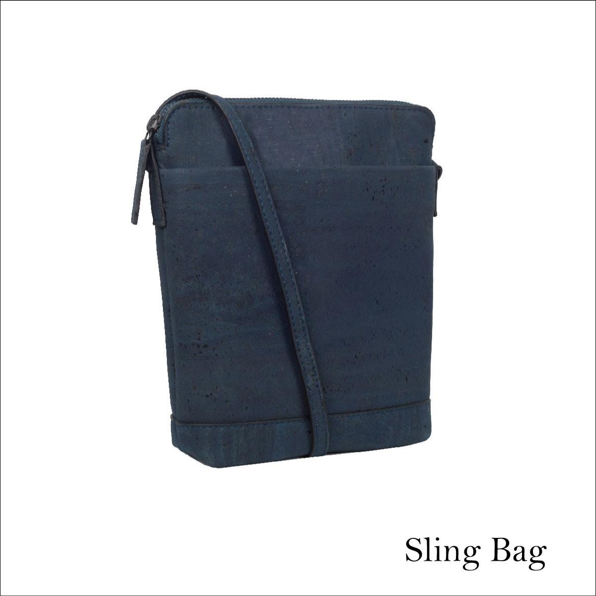 0291f09a9f1 VEGAN CORK SLING BAG BLUE / ショルダーバッグ コルク製 斜め掛け ...