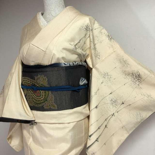 【万能選手】モノトーンの竹林手描き 付下げ柄付 紬 クリーム色 身丈163 裄65.5