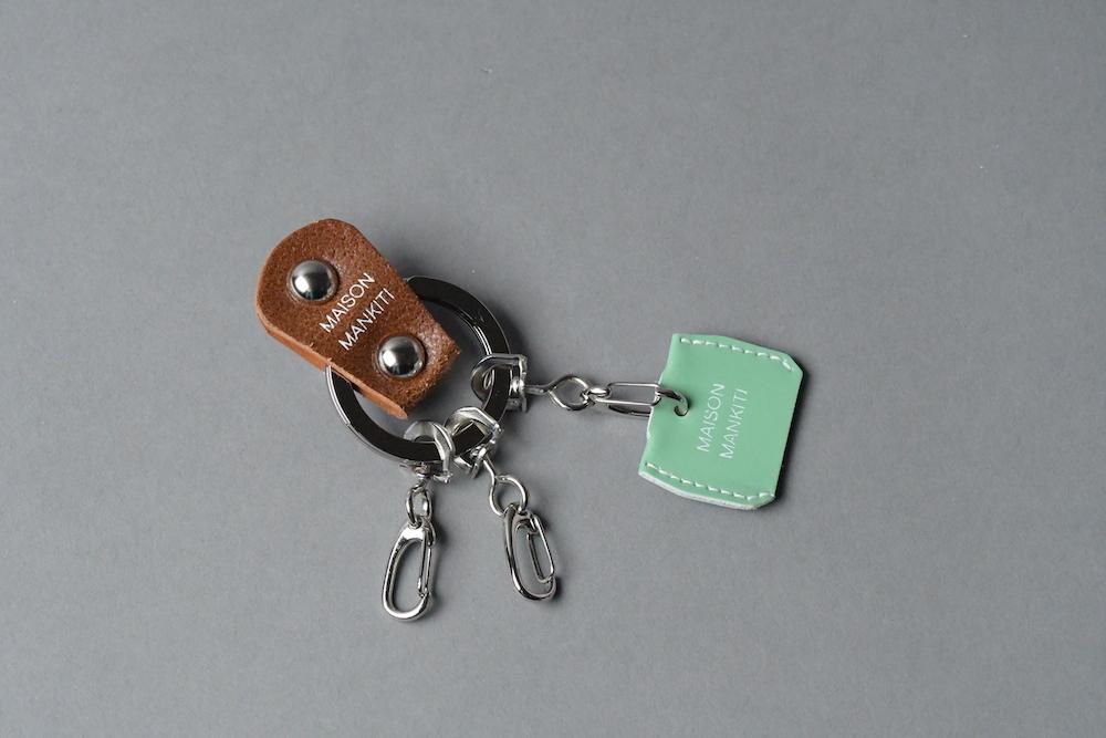 KEY RING・CAP ■ブラウンS・エメラルドグリーン■_本革真鍮キーリング・キーキャップセット_ - 画像1