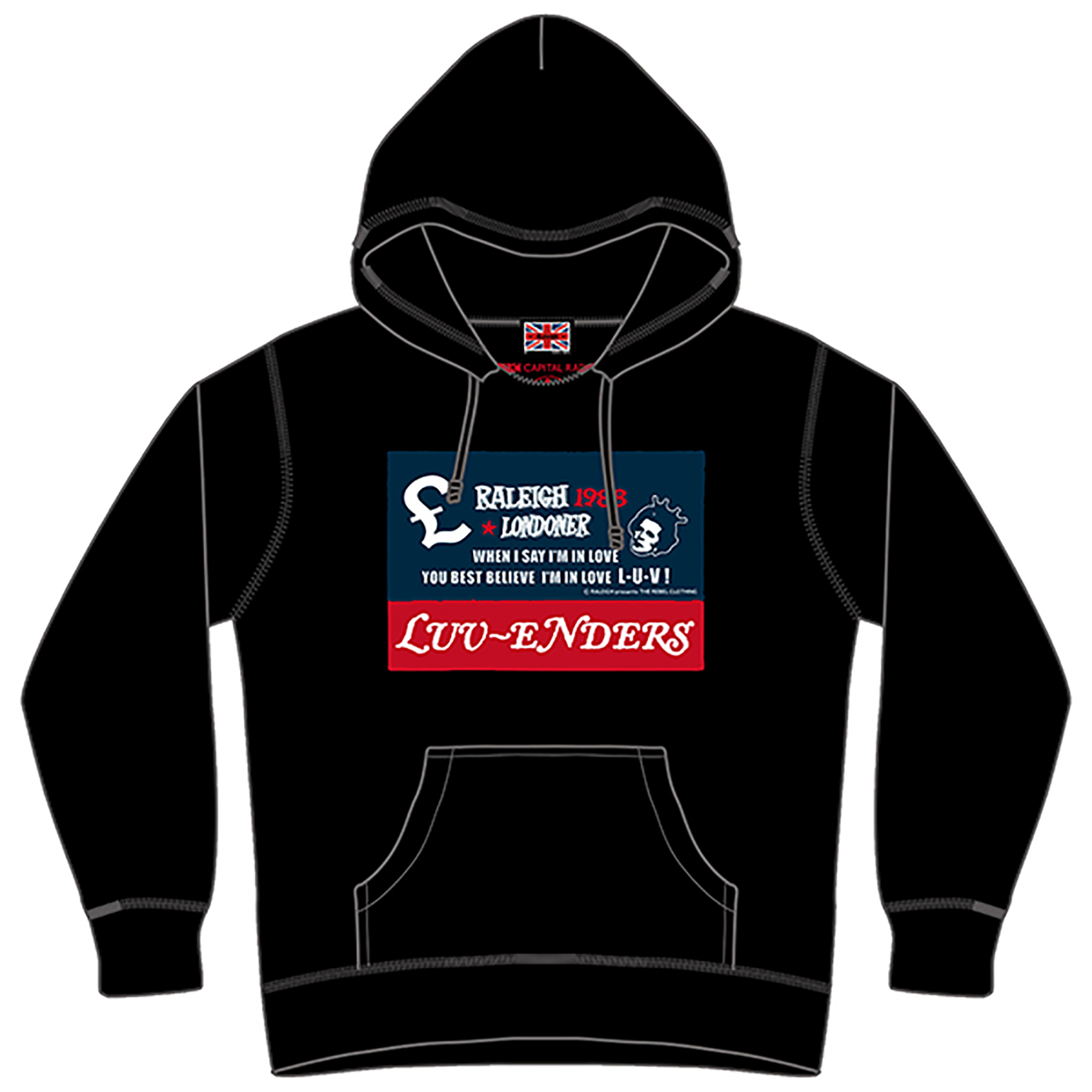 """One way ticket to London hoodie""  Raleigh design × Luv-Enders カスタムパーカー RVLG-014"