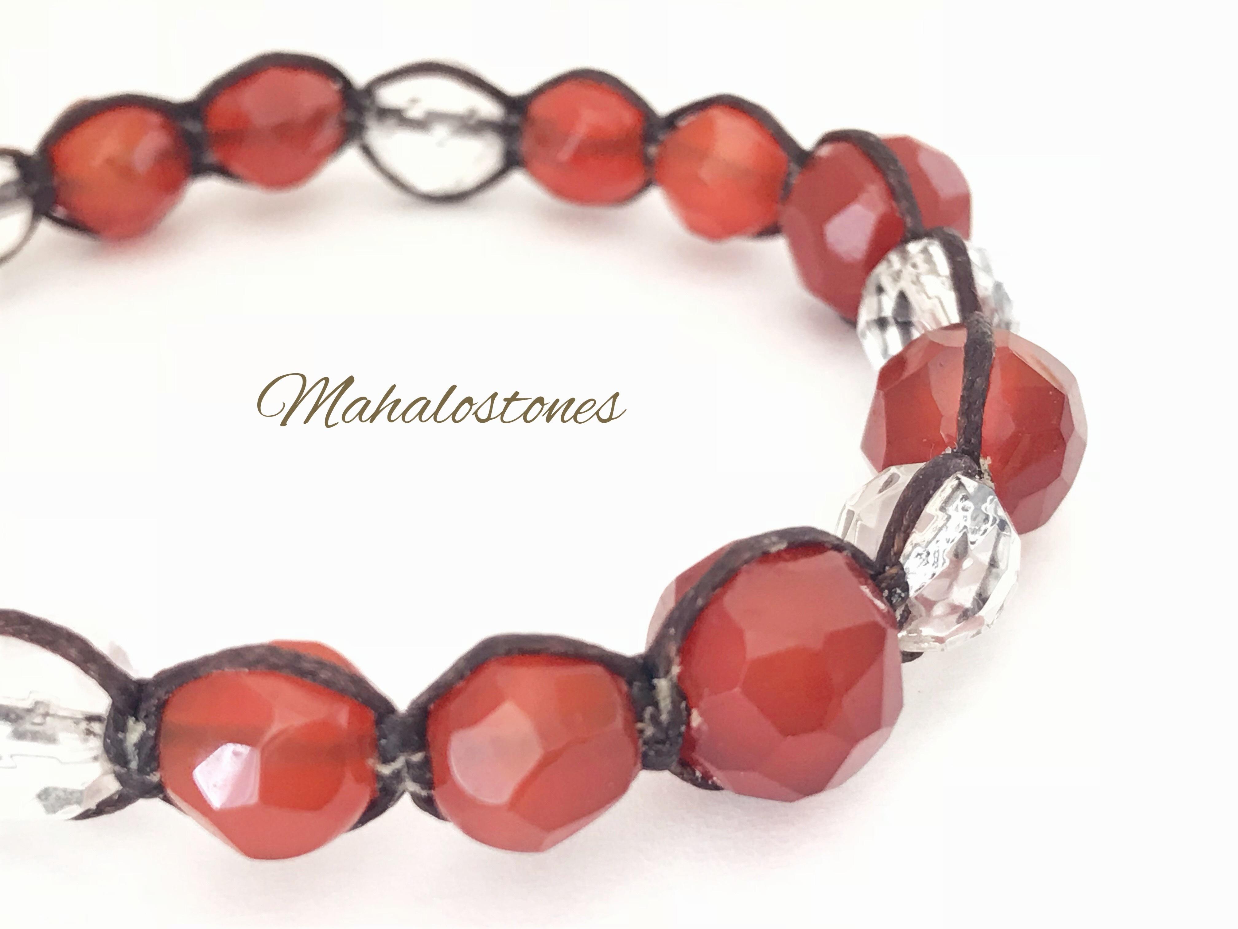 赤メノウと水晶のブレスレット