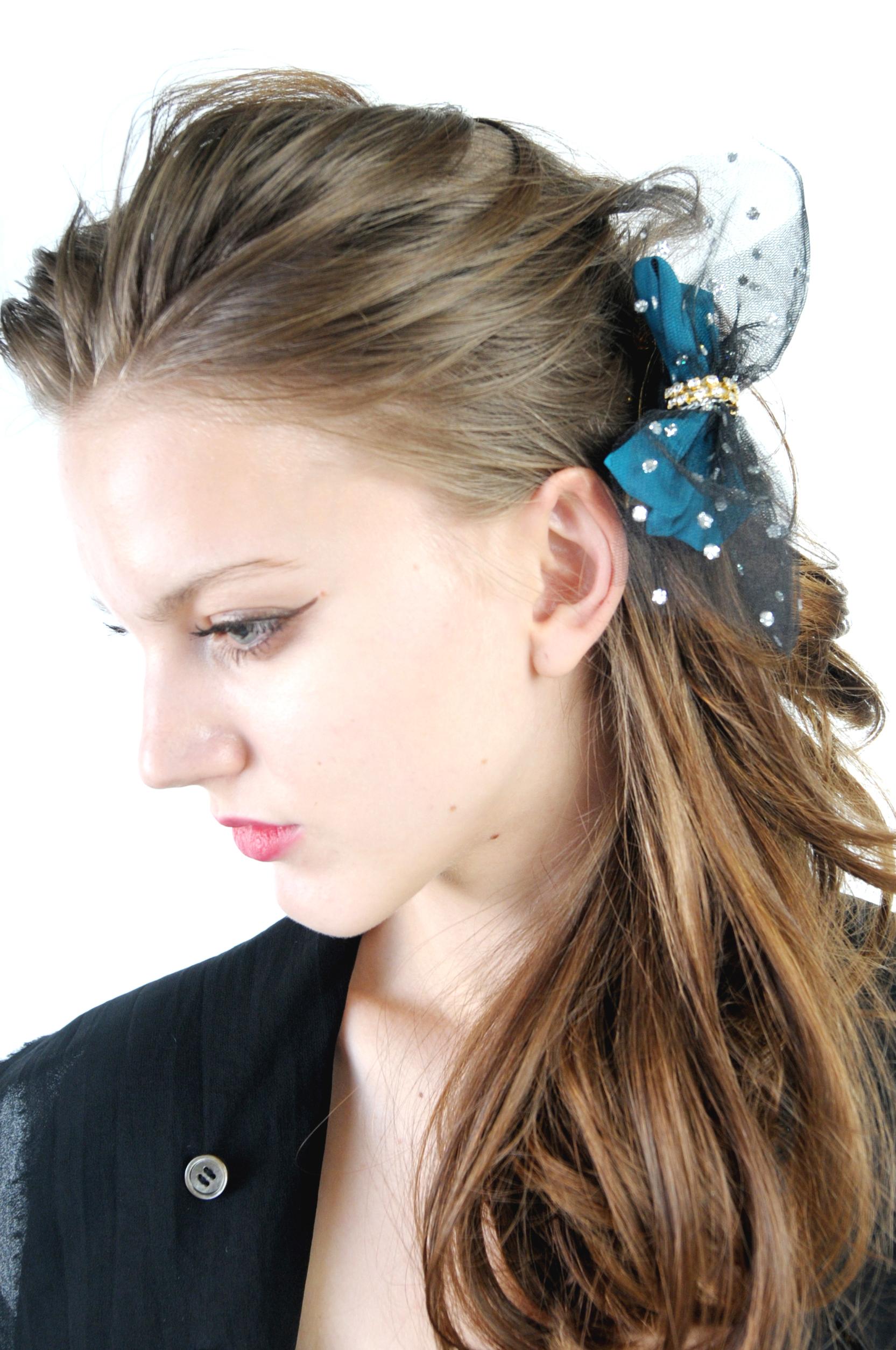 joe13SM-75 dot tulle bicolor ribbon baretta