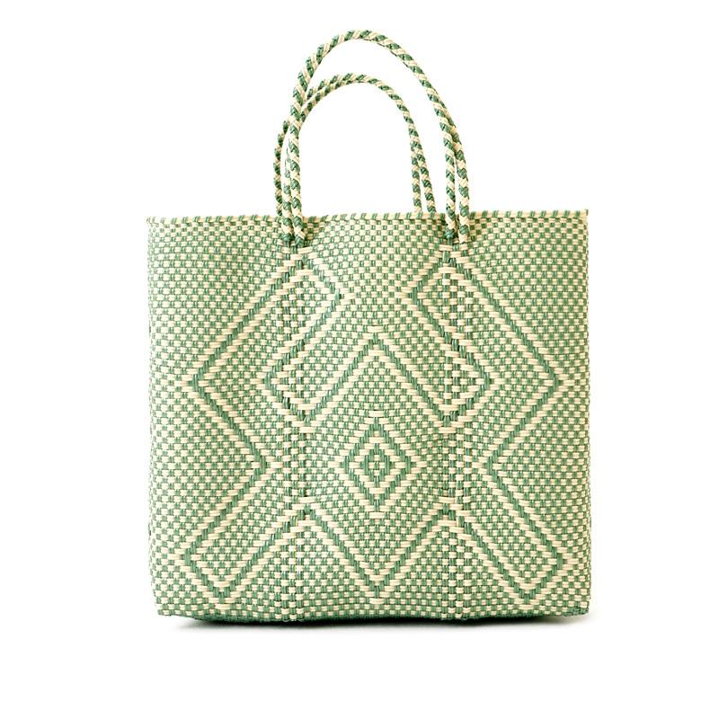 MERCADO BAG CANGREJO ‐Ivory × Light Green(M)