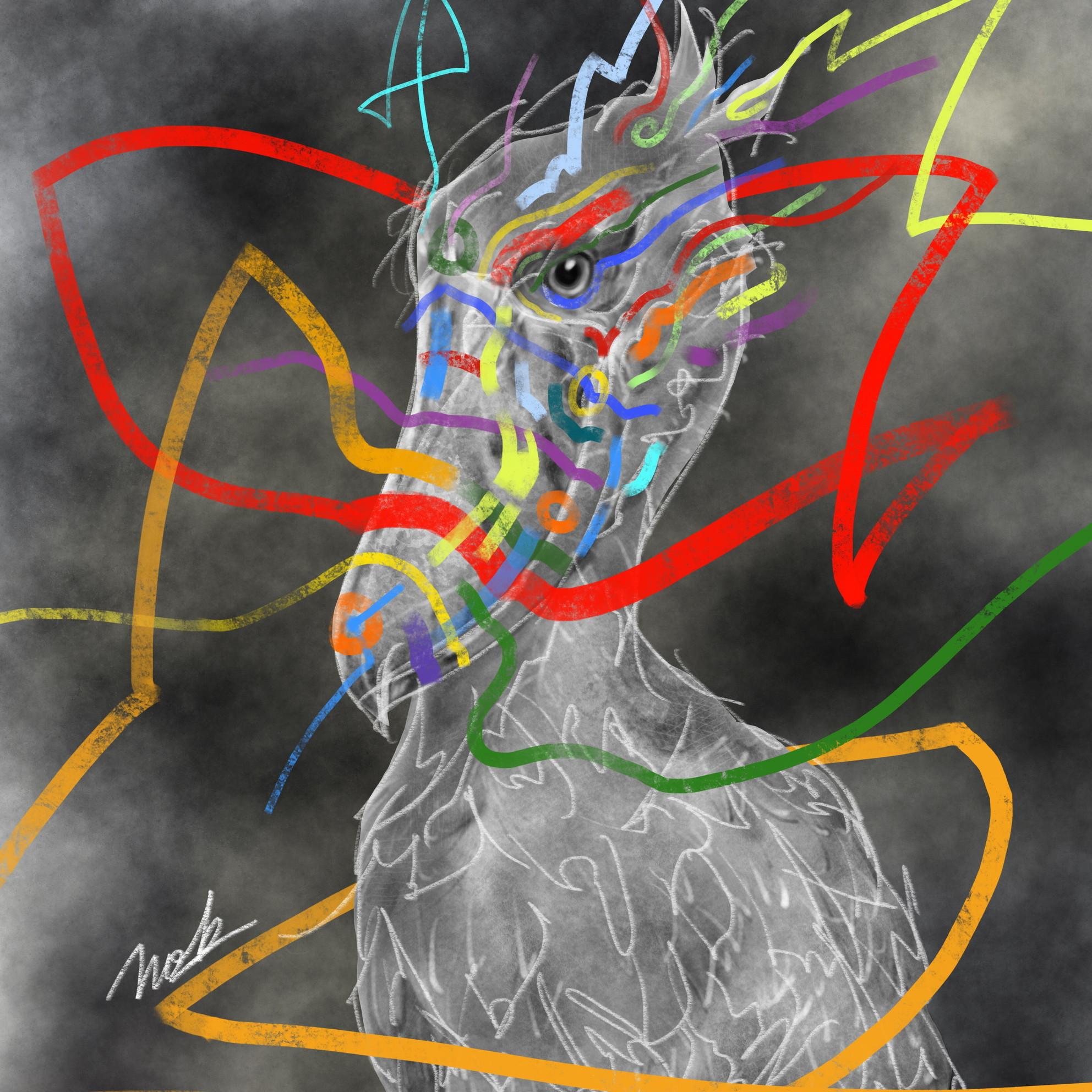 絵画 絵 ピクチャー 縁起画 モダン シェアハウス アートパネル アート art 14cm×14cm 一人暮らし 送料無料 インテリア 雑貨 壁掛け 置物 おしゃれ ロココロ 現代アート 鳥 ハシビロコウ コウノトリ  画家 : nob 作品 : Shoebill