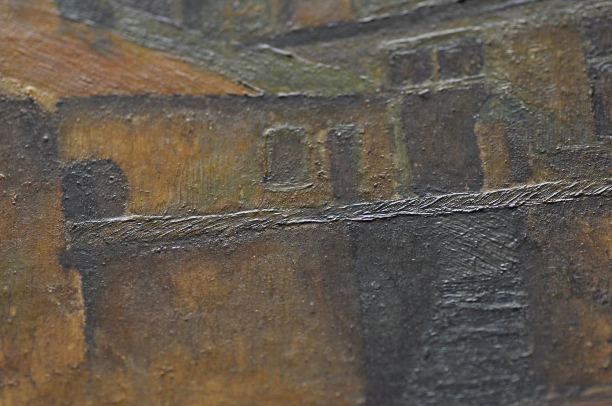 運河沿いの建物油絵