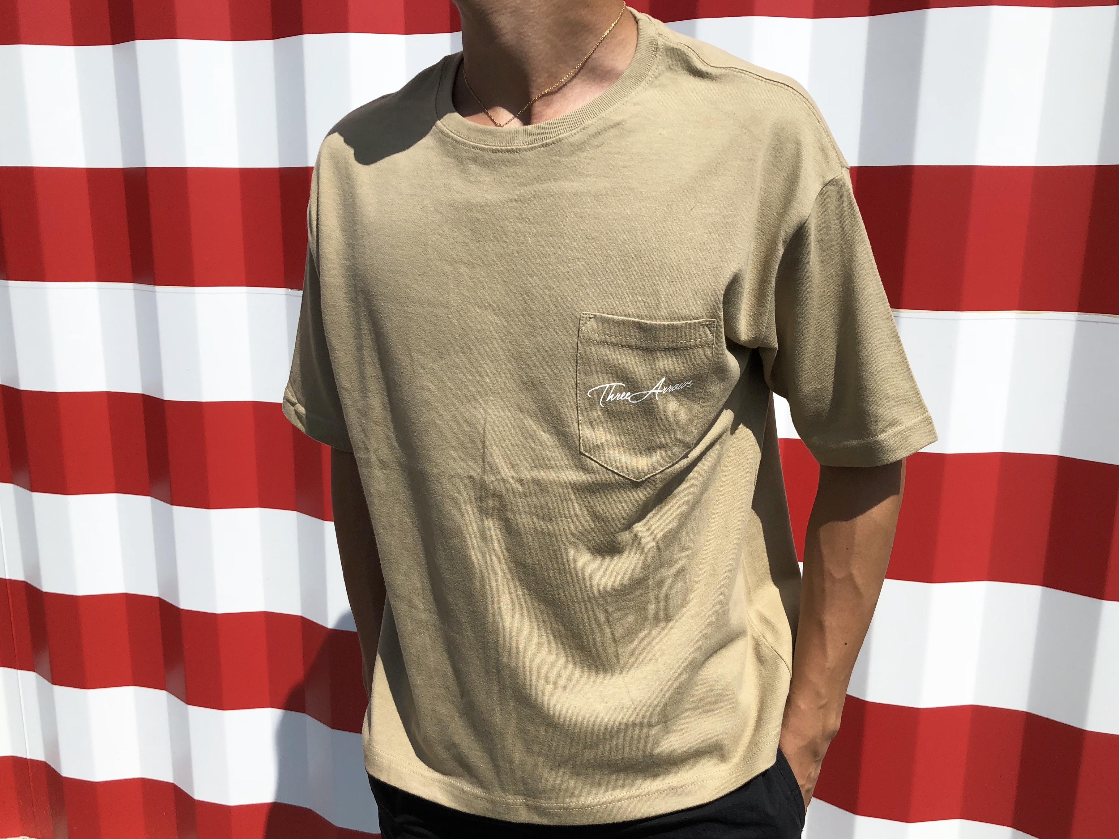 【7/10 21:00 Re stock】ThreeArrows ポケット付きBIGシルエットTシャツ(beige)