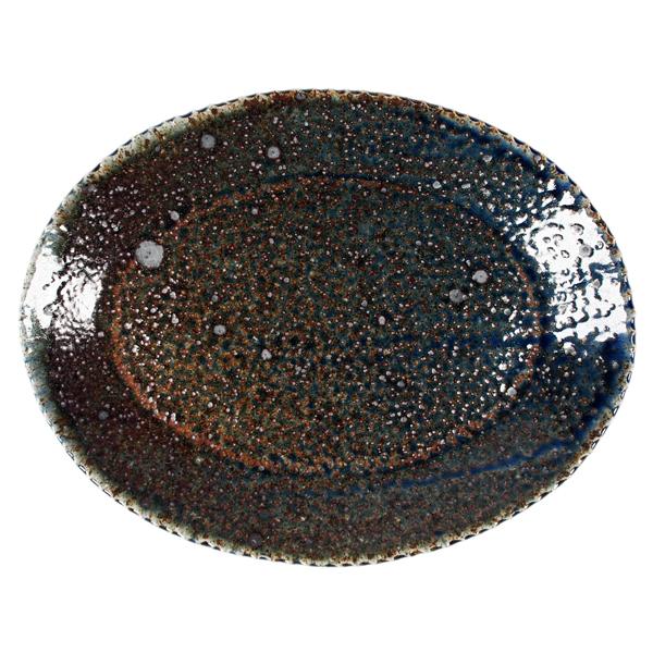 つくも窯 十場天伸 楕円皿 ソーダ釉