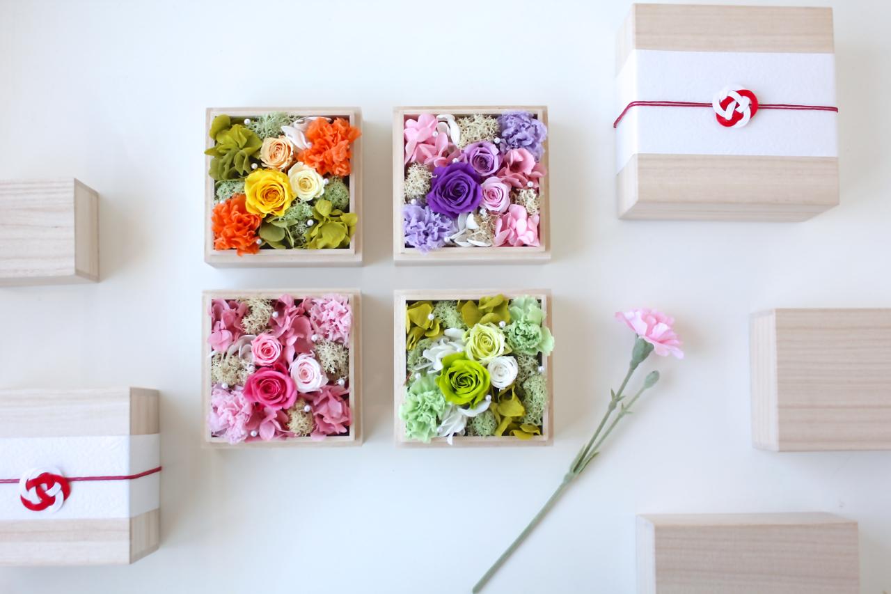 桐箱で贈る和モダンなフラワーギフト 桐箱花10.5