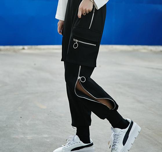 3ede70286eb 韓国ファッション レディース ストリート系 パンツ チャック オルチャン ヒップホップ ズボン 原宿系 春夏秋冬 M/L【tb-323】