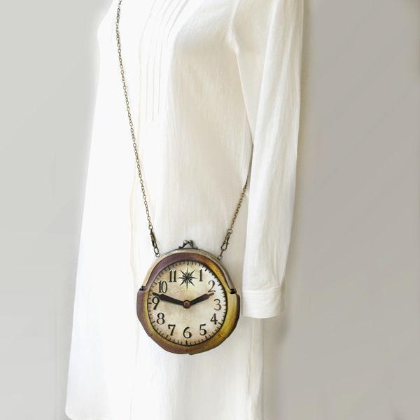 【受注製作】時計がま口 ミニポシェット アンティーク調時計 - 金星灯百貨店