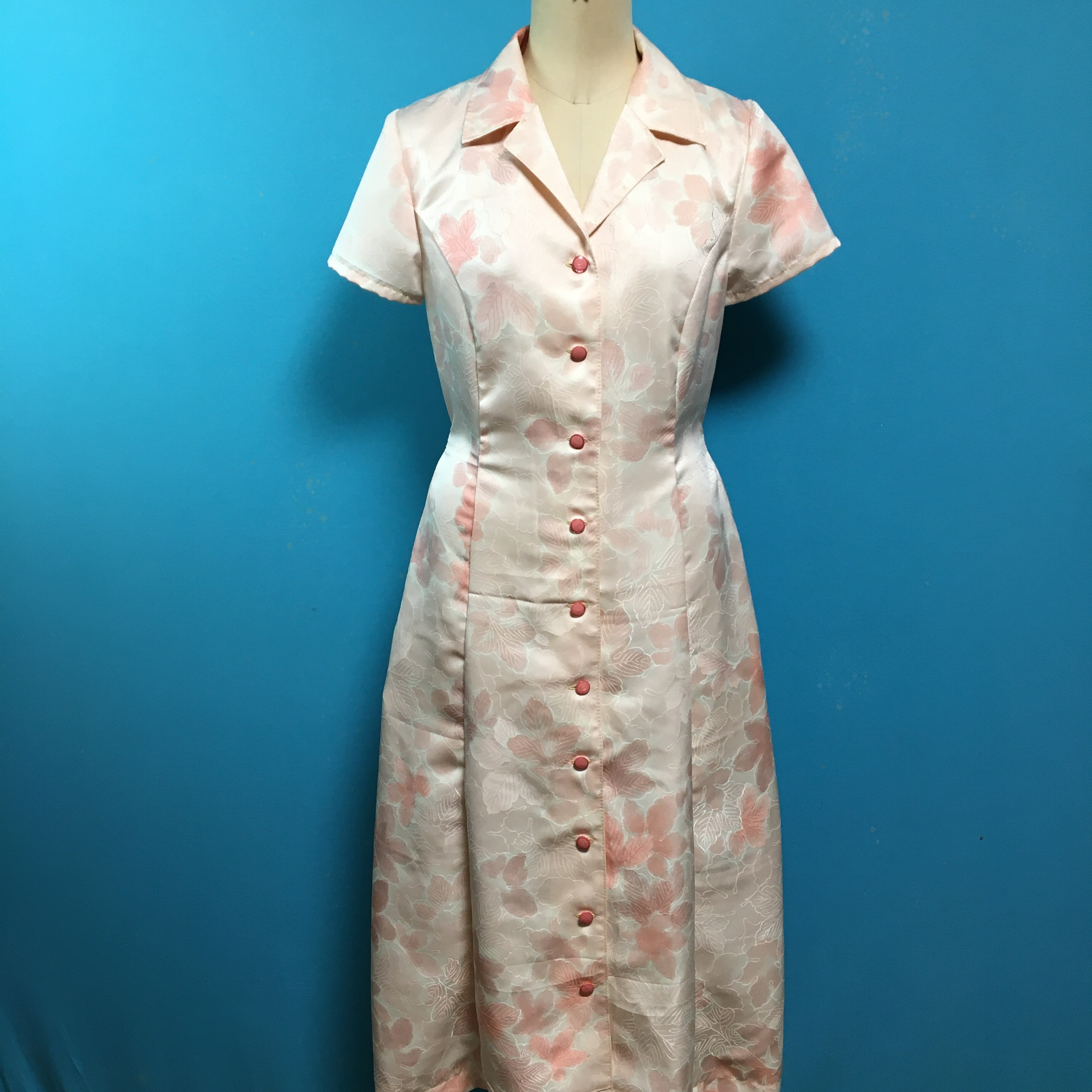 Vintage 着物 サイドポケットのレトロワンピース 桜色